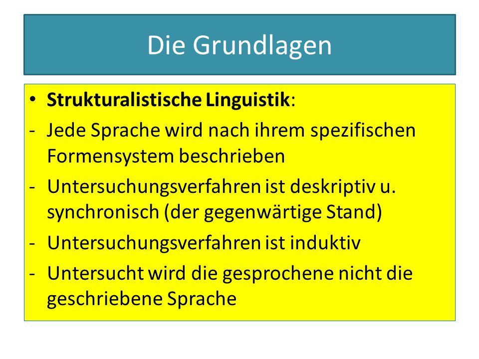 Die Grundlagen Strukturalistische Linguistik: Der Satz ist die Untersuchungseinheit:Prinzipien der Klassifizierung: 1.syntagmatische Kriterien (Beziehung der einzelnen Teile des Satzes zueinander) 2.paradigmatische Kriterien ( welche sprachlichen Phänomene gehören zusammen, Substitutionsprobe)