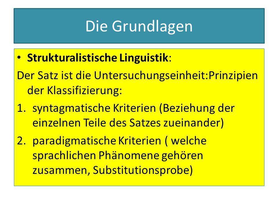 Die Grundlagen Strukturalistische Linguistik: Der Satz ist die Untersuchungseinheit:Prinzipien der Klassifizierung: 1.syntagmatische Kriterien (Bezieh