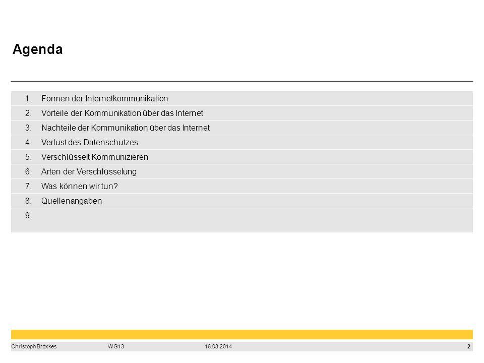 2 Christoph BröxkesWG1316.03.2014 1.Formen der Internetkommunikation 2.Vorteile der Kommunikation über das Internet 3.Nachteile der Kommunikation über das Internet 4.Verlust des Datenschutzes 5.Verschlüsselt Kommunizieren 6.Arten der Verschlüsselung 7.Was können wir tun.