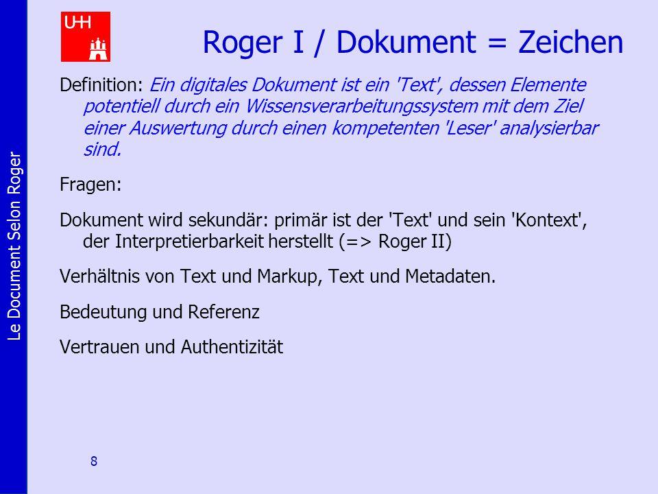 Le Document Selon Roger 8 Roger I / Dokument = Zeichen Definition: Ein digitales Dokument ist ein 'Text', dessen Elemente potentiell durch ein Wissens