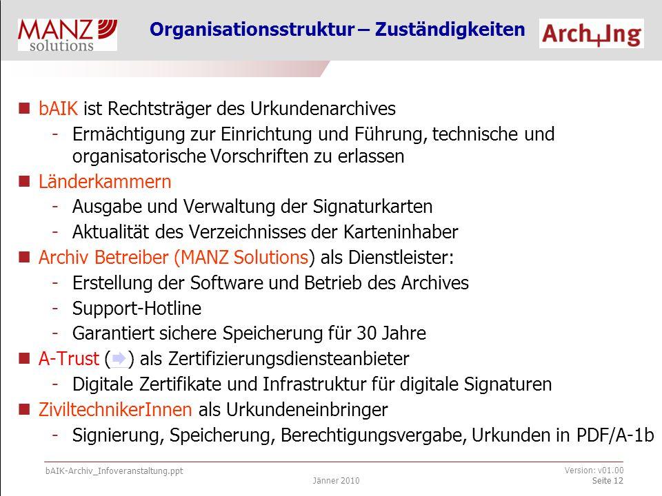 bAIK-Archiv_Infoveranstaltung.ppt Jänner 2010 Version: v01.00 Seite 12 Organisationsstruktur – Zuständigkeiten bAIK ist Rechtsträger des Urkundenarchives -Ermächtigung zur Einrichtung und Führung, technische und organisatorische Vorschriften zu erlassen Länderkammern -Ausgabe und Verwaltung der Signaturkarten -Aktualität des Verzeichnisses der Karteninhaber Archiv Betreiber (MANZ Solutions) als Dienstleister: -Erstellung der Software und Betrieb des Archives -Support-Hotline -Garantiert sichere Speicherung für 30 Jahre A-Trust (  ) als Zertifizierungsdiensteanbieter  -Digitale Zertifikate und Infrastruktur für digitale Signaturen ZiviltechnikerInnen als Urkundeneinbringer -Signierung, Speicherung, Berechtigungsvergabe, Urkunden in PDF/A-1b Seite 12