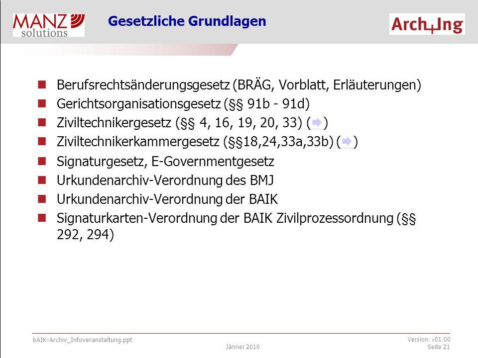 bAIK-Archiv_Infoveranstaltung.ppt Jänner 2010 Version: v01.00 Seite 21 Berufsrechtsänderungsgesetz (BRÄG, Vorblatt, Erläuterungen) Gerichtsorganisationsgesetz (§§ 91b - 91d) Ziviltechnikergesetz (§§ 4, 16, 19, 20, 33) (  )  Ziviltechnikerkammergesetz (§§18,24,33a,33b) (  )  Signaturgesetz, E-Governmentgesetz Urkundenarchiv-Verordnung des BMJ Urkundenarchiv-Verordnung der BAIK Signaturkarten-Verordnung der BAIK Zivilprozessordnung (§§ 292, 294) Gesetzliche Grundlagen