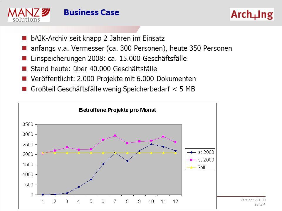 bAIK-Archiv_Infoveranstaltung.ppt Jänner 2010 Version: v01.00 Seite 4 Business Case bAIK-Archiv seit knapp 2 Jahren im Einsatz anfangs v.a.