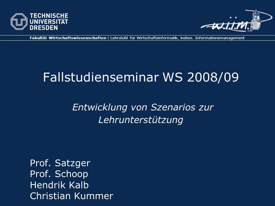 Fakultät Wirtschaftswissenschaften | Lehrstuhl für Wirtschaftsinformatik, insbes.
