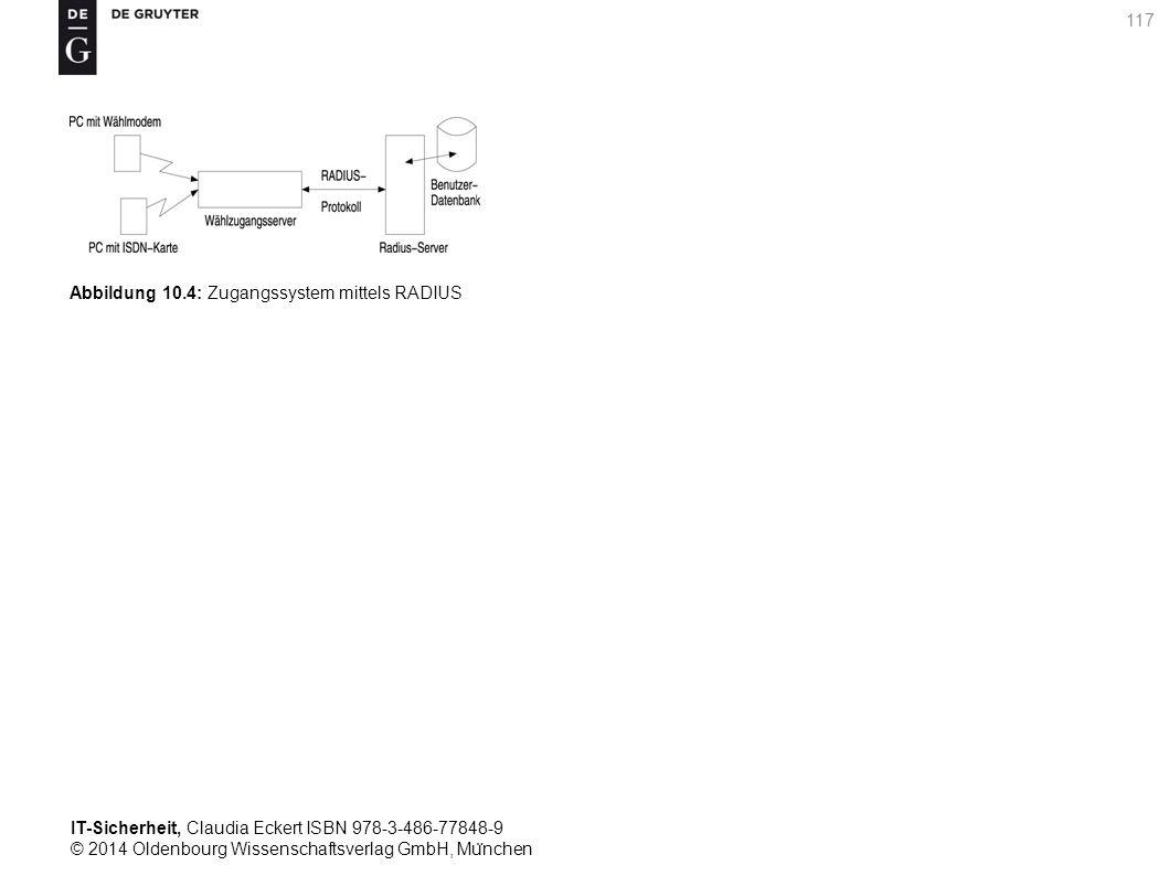 IT-Sicherheit, Claudia Eckert ISBN 978-3-486-77848-9 © 2014 Oldenbourg Wissenschaftsverlag GmbH, Mu ̈ nchen 117 Abbildung 10.4: Zugangssystem mittels RADIUS