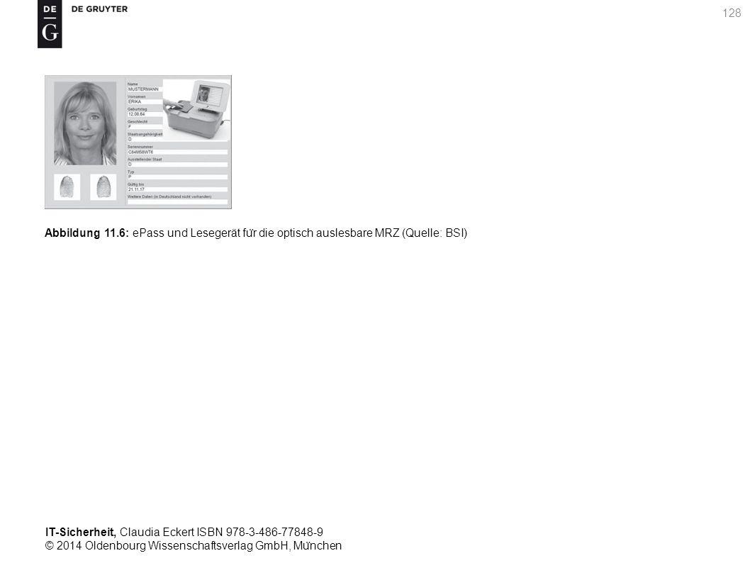 IT-Sicherheit, Claudia Eckert ISBN 978-3-486-77848-9 © 2014 Oldenbourg Wissenschaftsverlag GmbH, Mu ̈ nchen 128 Abbildung 11.6: ePass und Lesegerät fu ̈ r die optisch auslesbare MRZ (Quelle: BSI)
