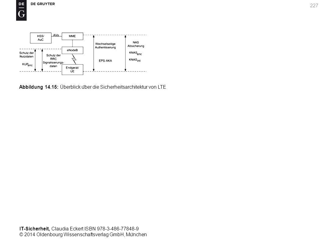 IT-Sicherheit, Claudia Eckert ISBN 978-3-486-77848-9 © 2014 Oldenbourg Wissenschaftsverlag GmbH, Mu ̈ nchen 227 Abbildung 14.15: Überblick u ̈ ber die Sicherheitsarchitektur von LTE