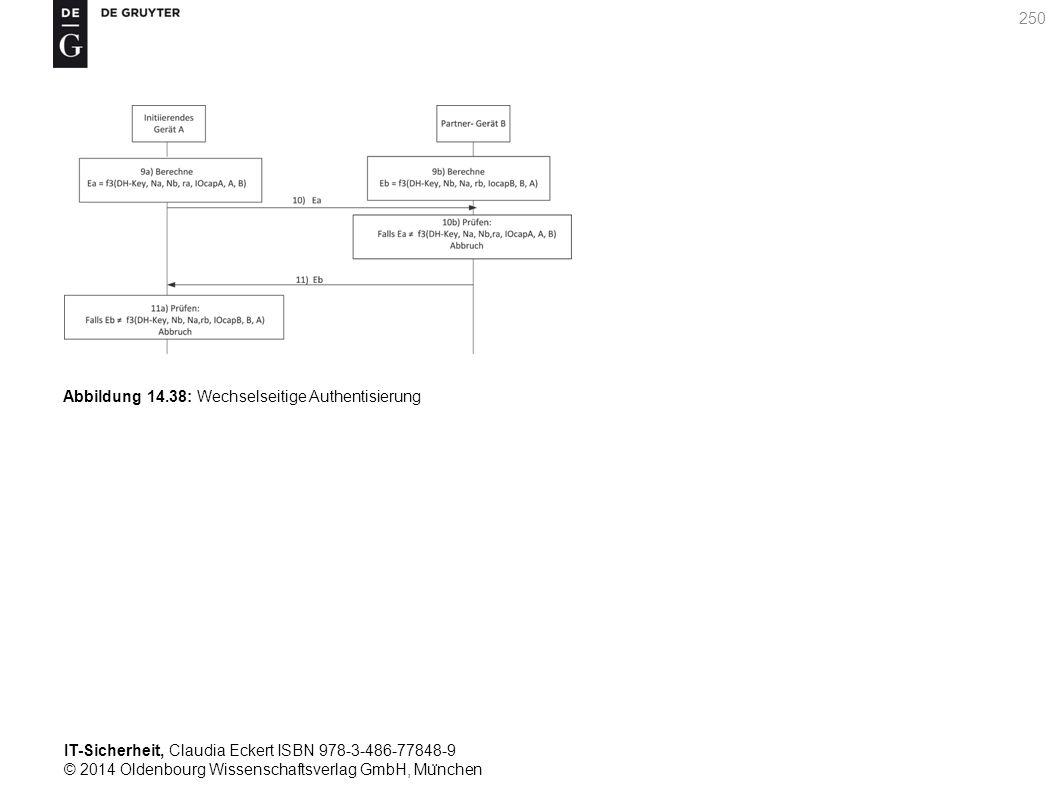 IT-Sicherheit, Claudia Eckert ISBN 978-3-486-77848-9 © 2014 Oldenbourg Wissenschaftsverlag GmbH, Mu ̈ nchen 250 Abbildung 14.38: Wechselseitige Authentisierung