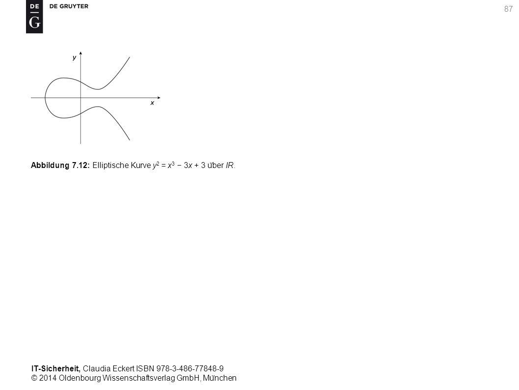IT-Sicherheit, Claudia Eckert ISBN 978-3-486-77848-9 © 2014 Oldenbourg Wissenschaftsverlag GmbH, Mu ̈ nchen 87 Abbildung 7.12: Elliptische Kurve y 2 = x 3 − 3x + 3 u ̈ ber IR.