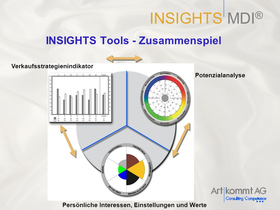 Persönliche Interessen, Einstellungen und Werte Verkaufsstrategienindikator Potenzialanalyse INSIGHTS Tools - Zusammenspiel INSIGHTS MDI ®