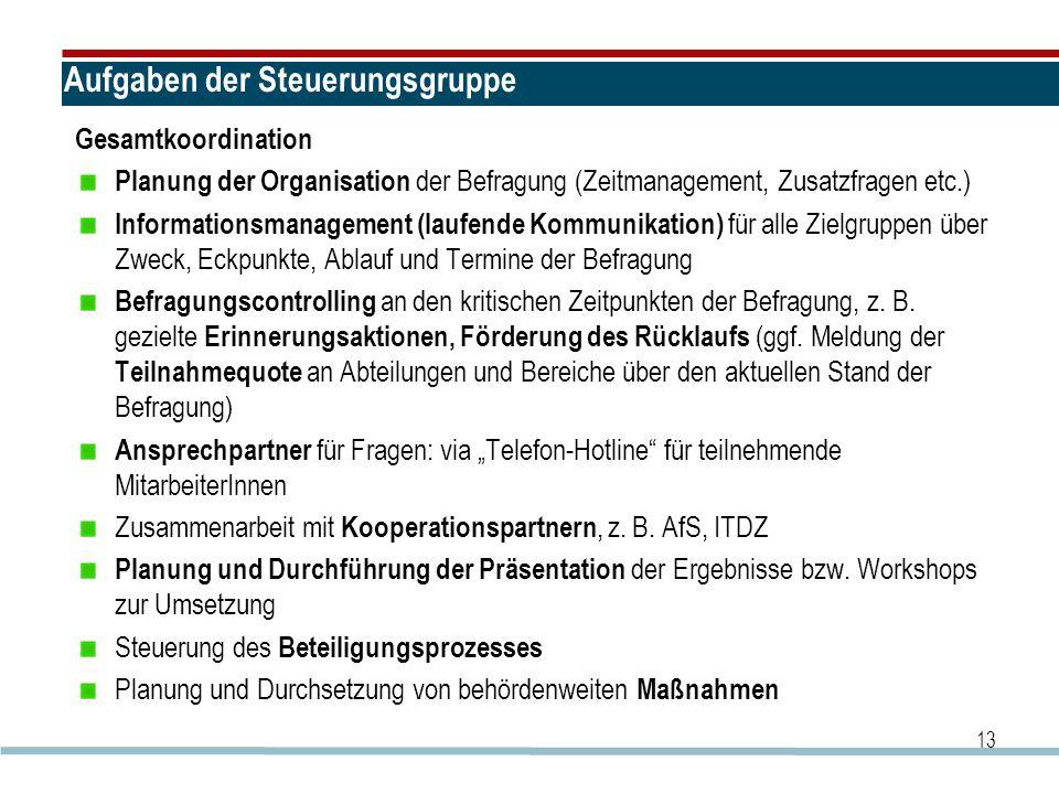 Aufgaben der Steuerungsgruppe Gesamtkoordination Planung der Organisation der Befragung (Zeitmanagement, Zusatzfragen etc.) Informationsmanagement (la