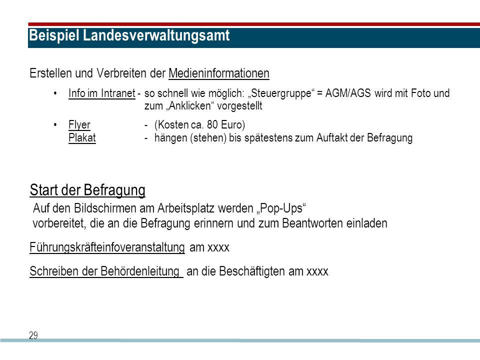 """29 Beispiel Landesverwaltungsamt Erstellen und Verbreiten der Medieninformationen Info im Intranet -so schnell wie möglich: """"Steuergruppe = AGM/AGS wird mit Foto und zum """"Anklicken vorgestellt Flyer -(Kosten ca."""