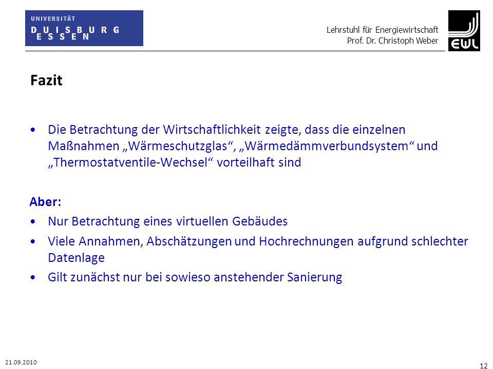 Lehrstuhl für Energiewirtschaft Prof. Dr. Christoph Weber 21.09.2010 12 Fazit Die Betrachtung der Wirtschaftlichkeit zeigte, dass die einzelnen Maßnah