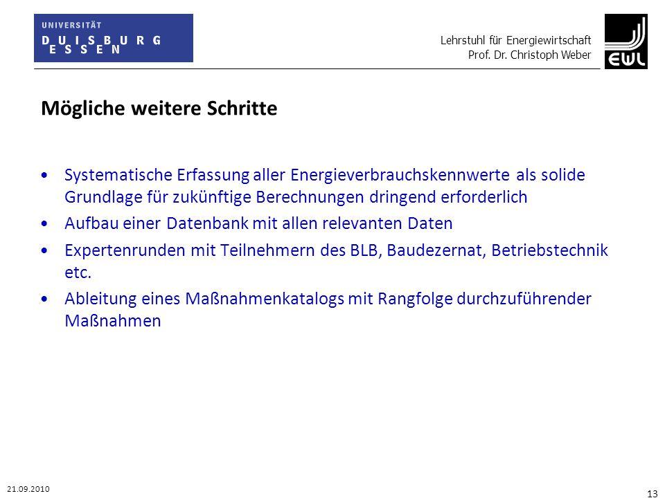 Lehrstuhl für Energiewirtschaft Prof. Dr. Christoph Weber 21.09.2010 13 Mögliche weitere Schritte Systematische Erfassung aller Energieverbrauchskennw