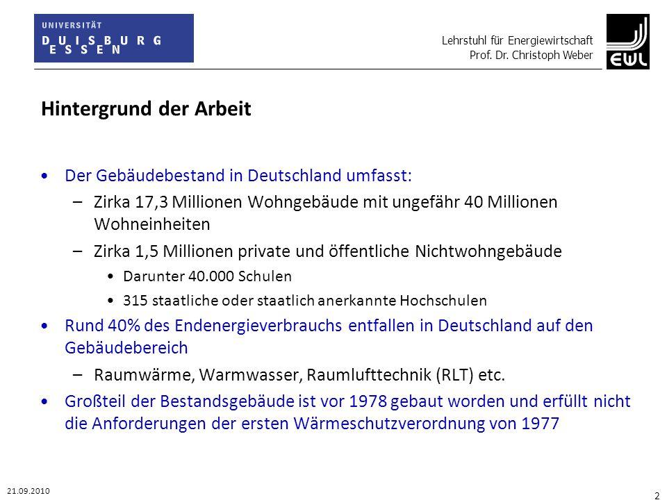 Lehrstuhl für Energiewirtschaft Prof. Dr. Christoph Weber 21.09.2010 2 Hintergrund der Arbeit Der Gebäudebestand in Deutschland umfasst: –Zirka 17,3 M