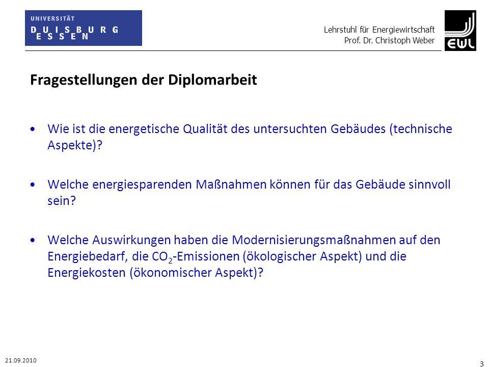 Lehrstuhl für Energiewirtschaft Prof. Dr. Christoph Weber 21.09.2010 3 Fragestellungen der Diplomarbeit Wie ist die energetische Qualität des untersuc