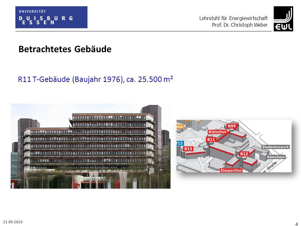 Lehrstuhl für Energiewirtschaft Prof. Dr. Christoph Weber 21.09.2010 4 Betrachtetes Gebäude R11 T-Gebäude (Baujahr 1976), ca. 25.500 m²
