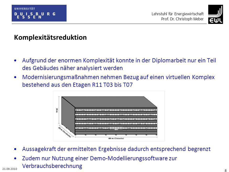 Lehrstuhl für Energiewirtschaft Prof. Dr. Christoph Weber 21.09.2010 8 Komplexitätsreduktion Aufgrund der enormen Komplexität konnte in der Diplomarbe