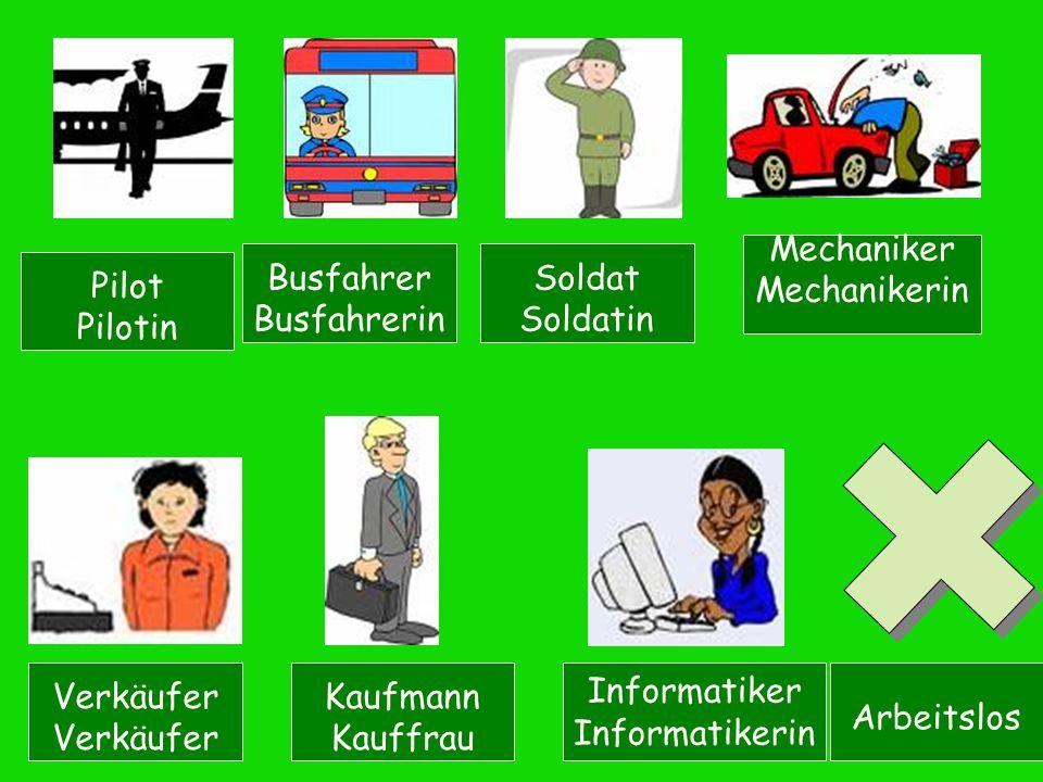 Pilot Pilotin Busfahrer Busfahrerin Soldat Soldatin Mechaniker Mechanikerin Verkäufer Kaufmann Kauffrau Informatiker Informatikerin Arbeitslos