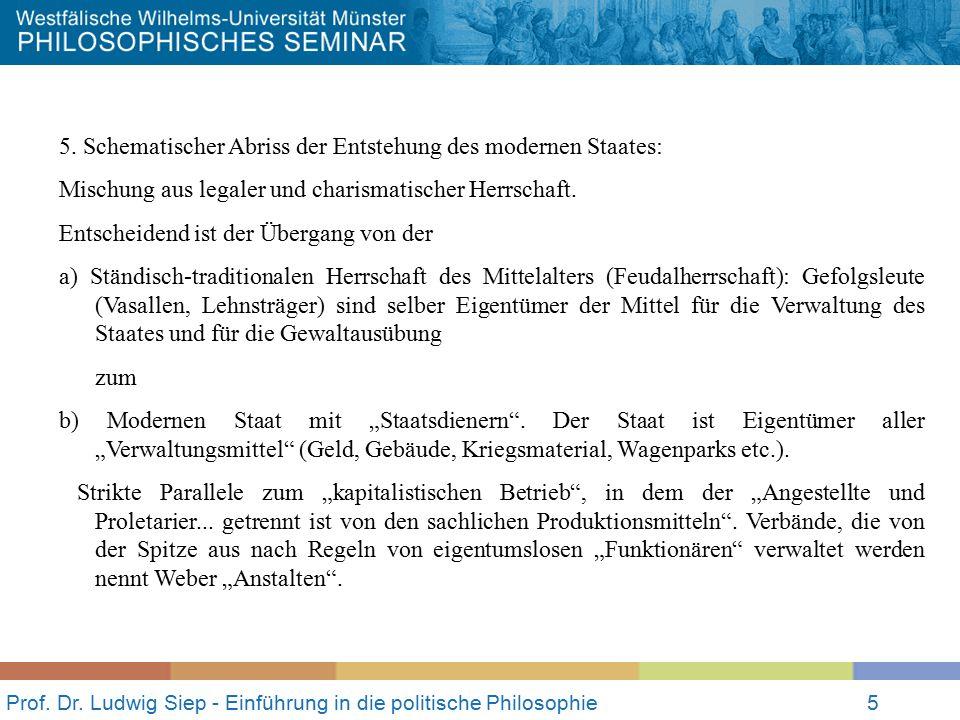 Prof. Dr. Ludwig Siep - Einführung in die politische Philosophie5 5. Schematischer Abriss der Entstehung des modernen Staates: Mischung aus legaler un
