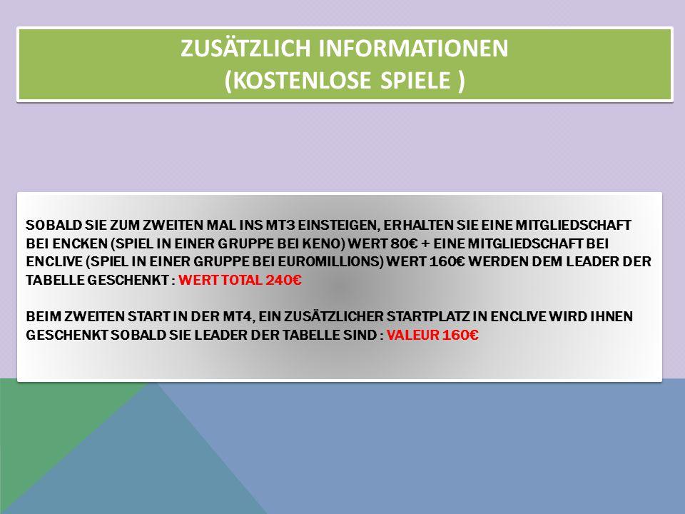 SOBALD SIE ZUM ZWEITEN MAL INS MT3 EINSTEIGEN, ERHALTEN SIE EINE MITGLIEDSCHAFT BEI ENCKEN (SPIEL IN EINER GRUPPE BEI KENO) WERT 80€ + EINE MITGLIEDSCHAFT BEI ENCLIVE (SPIEL IN EINER GRUPPE BEI EUROMILLIONS) WERT 160€ WERDEN DEM LEADER DER TABELLE GESCHENKT : WERT TOTAL 240€ BEIM ZWEITEN START IN DER MT4, EIN ZUSÄTZLICHER STARTPLATZ IN ENCLIVE WIRD IHNEN GESCHENKT SOBALD SIE LEADER DER TABELLE SIND : VALEUR 160€ SOBALD SIE ZUM ZWEITEN MAL INS MT3 EINSTEIGEN, ERHALTEN SIE EINE MITGLIEDSCHAFT BEI ENCKEN (SPIEL IN EINER GRUPPE BEI KENO) WERT 80€ + EINE MITGLIEDSCHAFT BEI ENCLIVE (SPIEL IN EINER GRUPPE BEI EUROMILLIONS) WERT 160€ WERDEN DEM LEADER DER TABELLE GESCHENKT : WERT TOTAL 240€ BEIM ZWEITEN START IN DER MT4, EIN ZUSÄTZLICHER STARTPLATZ IN ENCLIVE WIRD IHNEN GESCHENKT SOBALD SIE LEADER DER TABELLE SIND : VALEUR 160€ ZUSÄTZLICH INFORMATIONEN (KOSTENLOSE SPIELE ) ZUSÄTZLICH INFORMATIONEN (KOSTENLOSE SPIELE )