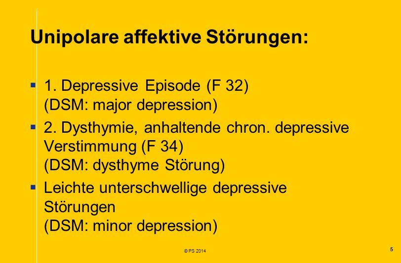 5 © PS 2014 Unipolare affektive Störungen:  1.
