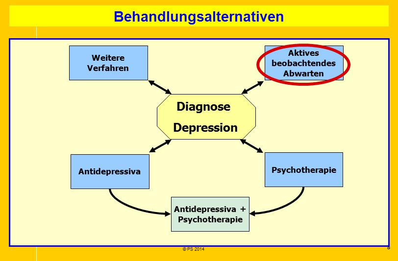 8 © PS 2014 Behandlungsalternativen Diagnose Depression Antidepressiva Psychotherapie Antidepressiva + Psychotherapie Aktives beobachtendes Abwarten W