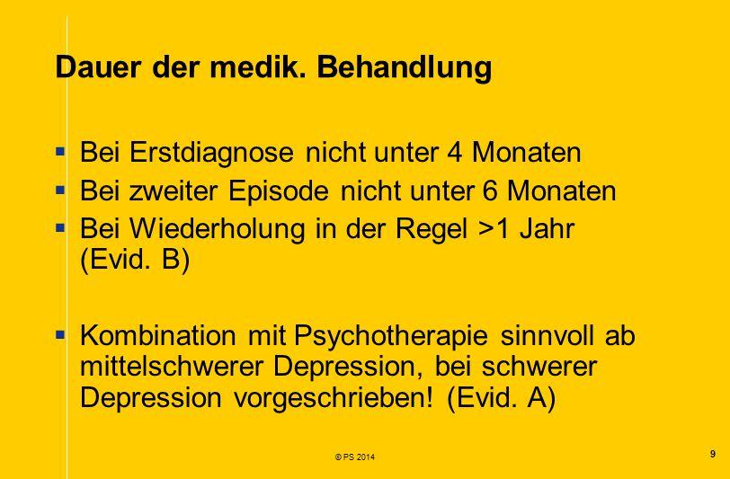 9 © PS 2014 Dauer der medik.