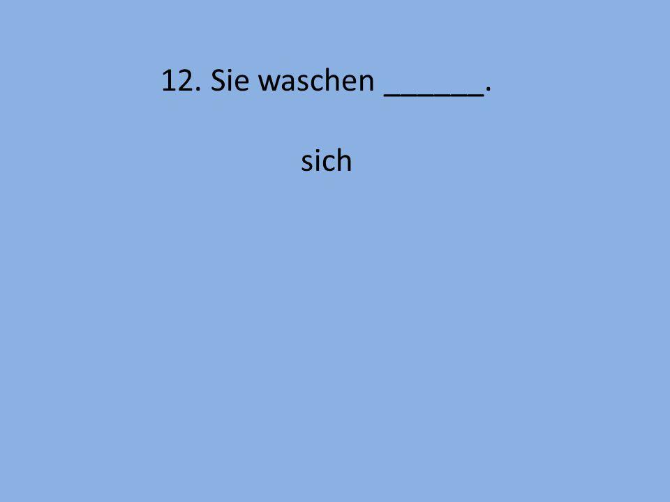 12. Sie waschen ______. sich