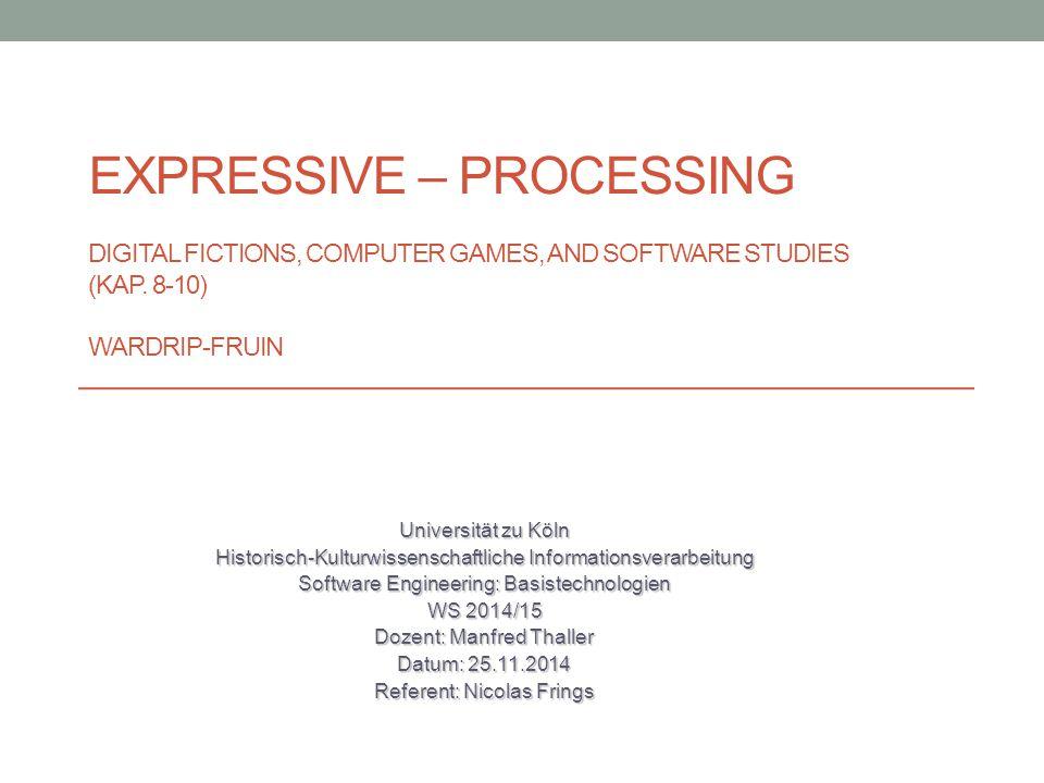 Inhalt The SimCity Effect SimCity Oz Project Facade Playable Text & Nonsimulative Processes Wardrip-Fruins Ansätze Textual Instruments Exkurs: Virtual Reality N-Grams Fazit