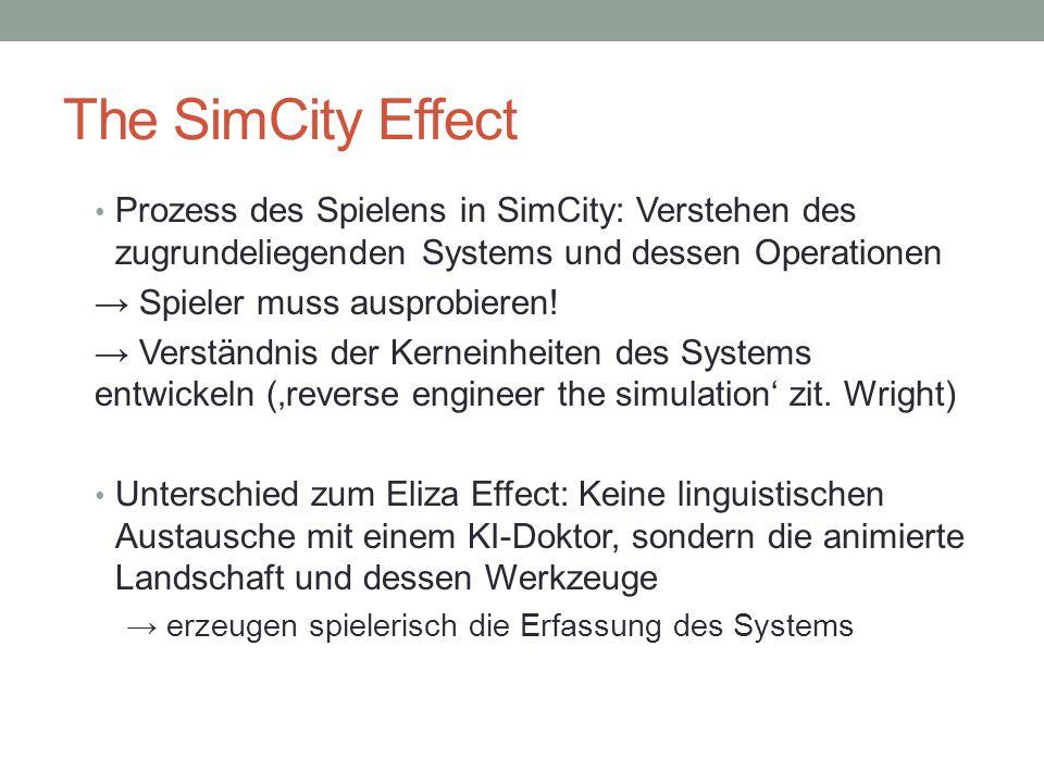 The SimCity Effect Problematik in SimCity: Politik → Kritik am System nicht toleriert → Spielspaß wird gehemmt → Spieler wird gezwungen, sich dem System anzupassen.