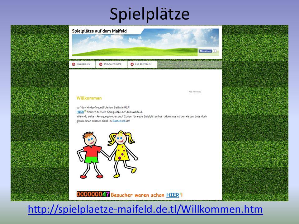 Spielplätze http://spielplaetze-maifeld.de.tl/Willkommen.htm Wie sind Spielplätze auf dem Maifeld ausgestattet? Wie könnte man sie generationsübergrei