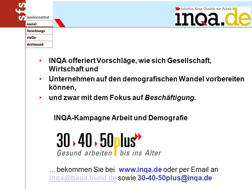 INQA offeriert Vorschläge, wie sich Gesellschaft, Wirtschaft und Unternehmen auf den demografischen Wandel vorbereiten können, und zwar mit dem Fokus auf Beschäftigung.