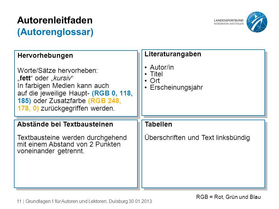 """11   Grundlagen 1 für Autoren und Lektoren, Duisburg 30.01.2013 Autorenleitfaden (Autorenglossar) Hervorhebungen Worte/Sätze hervorheben: """"fett"""" oder"""