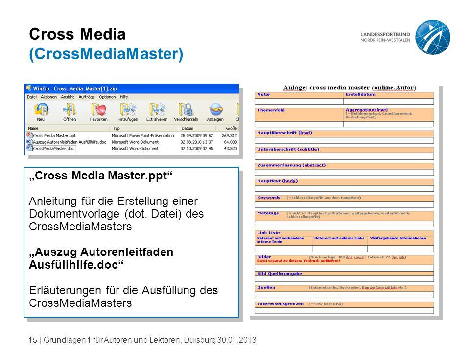 """15   Grundlagen 1 für Autoren und Lektoren, Duisburg 30.01.2013 Cross Media (CrossMediaMaster) """"Cross Media Master.ppt"""" Anleitung für die Erstellung e"""