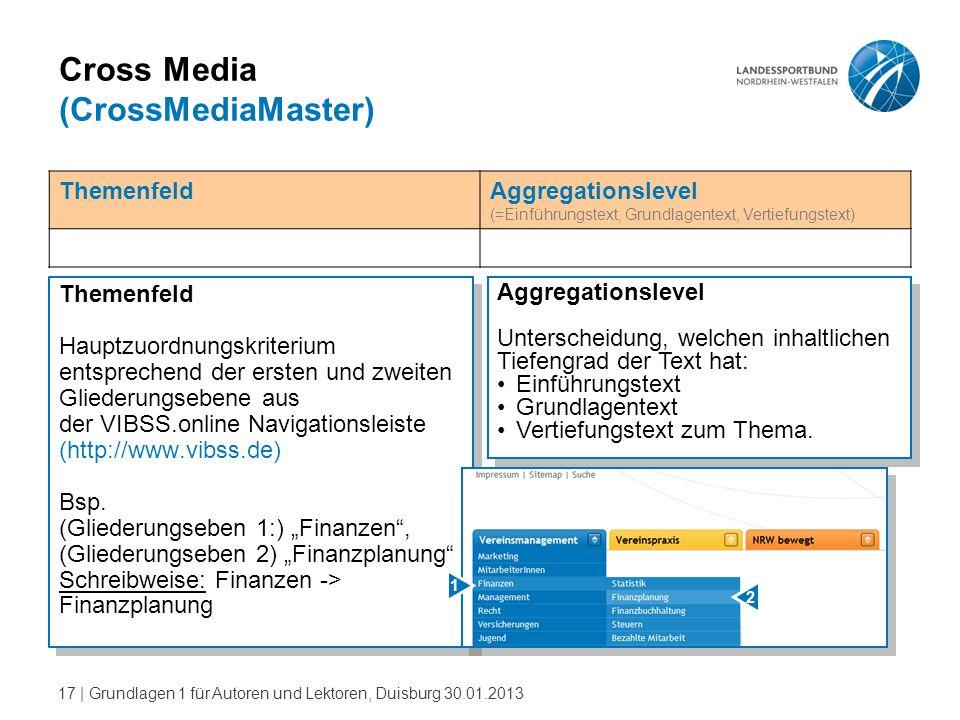 17   Grundlagen 1 für Autoren und Lektoren, Duisburg 30.01.2013 Cross Media (CrossMediaMaster) Themenfeld Hauptzuordnungskriterium entsprechend der er