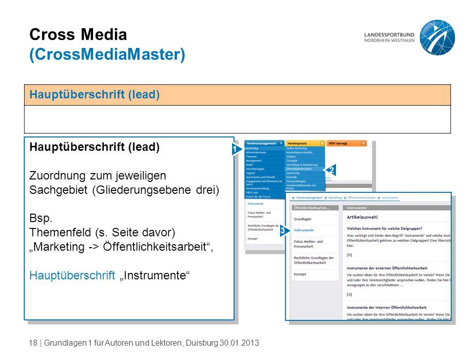 18   Grundlagen 1 für Autoren und Lektoren, Duisburg 30.01.2013 Cross Media (CrossMediaMaster) Hauptüberschrift (lead) Zuordnung zum jeweiligen Sachge