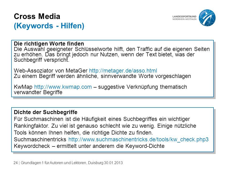 24   Grundlagen 1 für Autoren und Lektoren, Duisburg 30.01.2013 Cross Media (Keywords - Hilfen) Die richtigen Worte finden Die Auswahl geeigneter Schl
