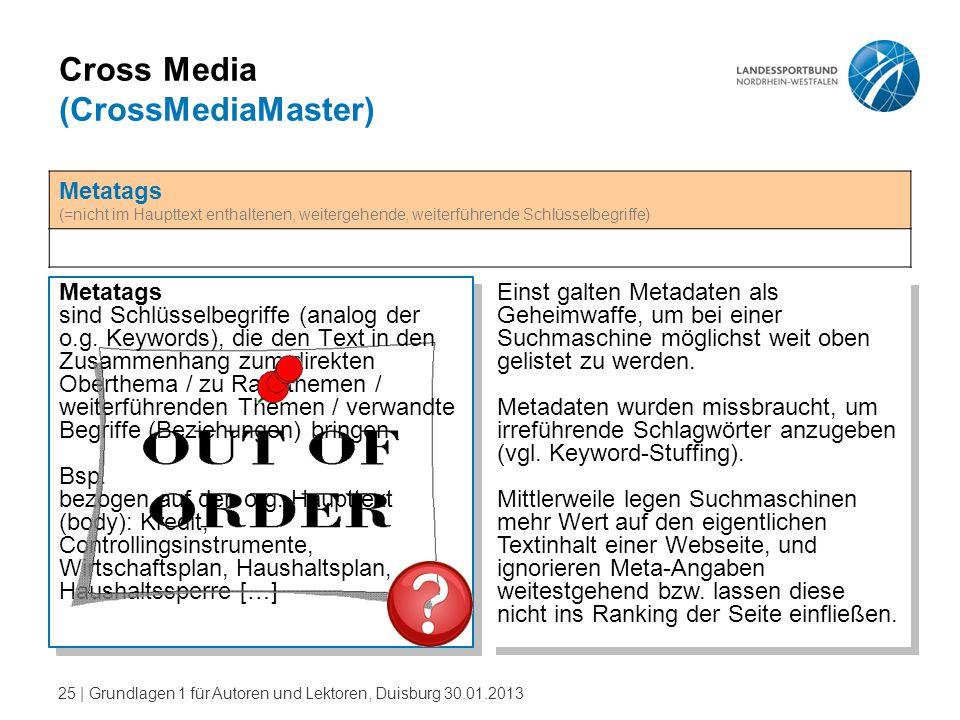 25   Grundlagen 1 für Autoren und Lektoren, Duisburg 30.01.2013 Cross Media (CrossMediaMaster) Metatags sind Schlüsselbegriffe (analog der o.g. Keywor