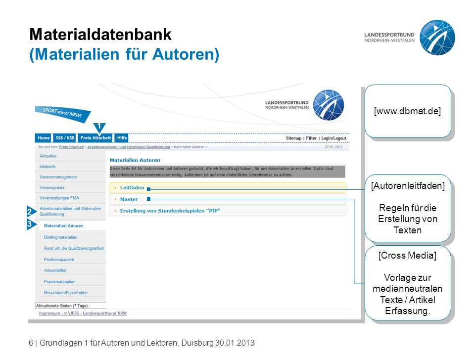 6   Grundlagen 1 für Autoren und Lektoren, Duisburg 30.01.2013 Materialdatenbank (Materialien für Autoren) [www.dbmat.de] 2 1 3 [Autorenleitfaden] Reg
