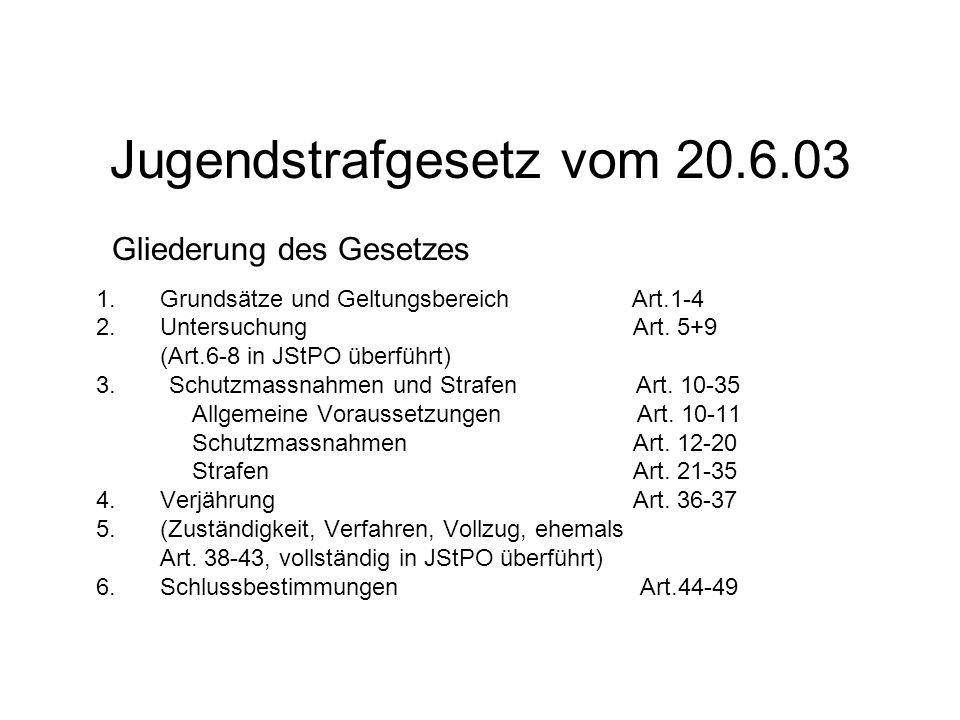 Jugendstrafgesetz vom 20.6.03 1.Grundsätze und Geltungsbereich Art.1-4 2.Untersuchung Art. 5+9 (Art.6-8 in JStPO überführt) 3. Schutzmassnahmen und St