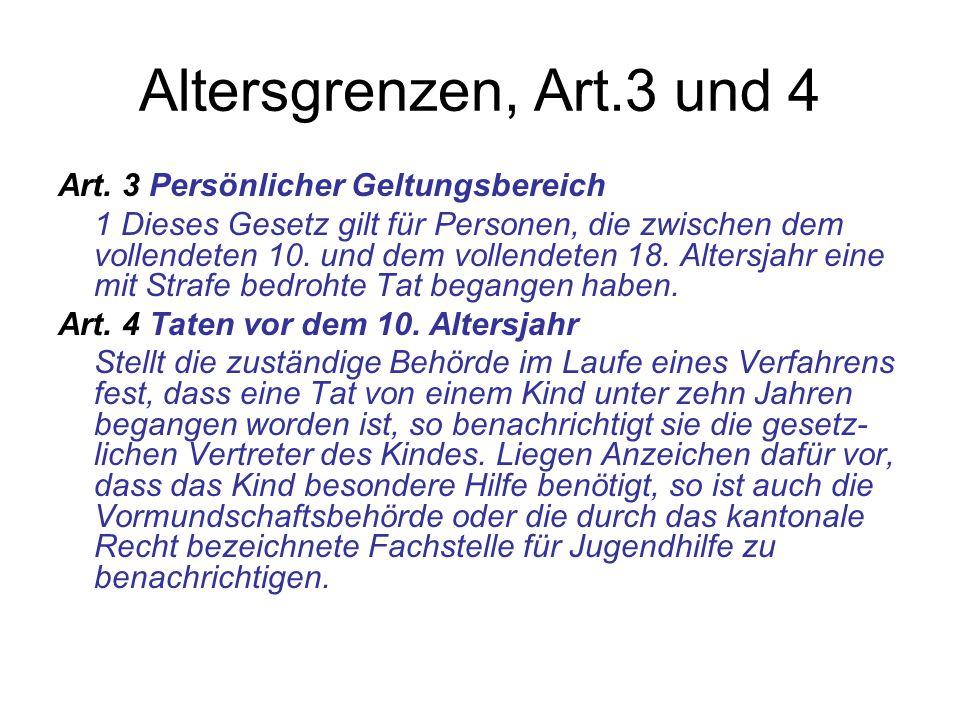 Altersgrenzen, Art.3 und 4 Art. 3 Persönlicher Geltungsbereich 1 Dieses Gesetz gilt für Personen, die zwischen dem vollendeten 10. und dem vollendeten