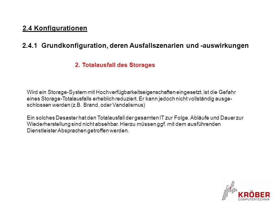 2. Totalausfall des Storages Wird ein Storage-System mit Hochverfügbarkeitseigenschaften eingesetzt, ist die Gefahr eines Storage-Totalausfalls erhebl