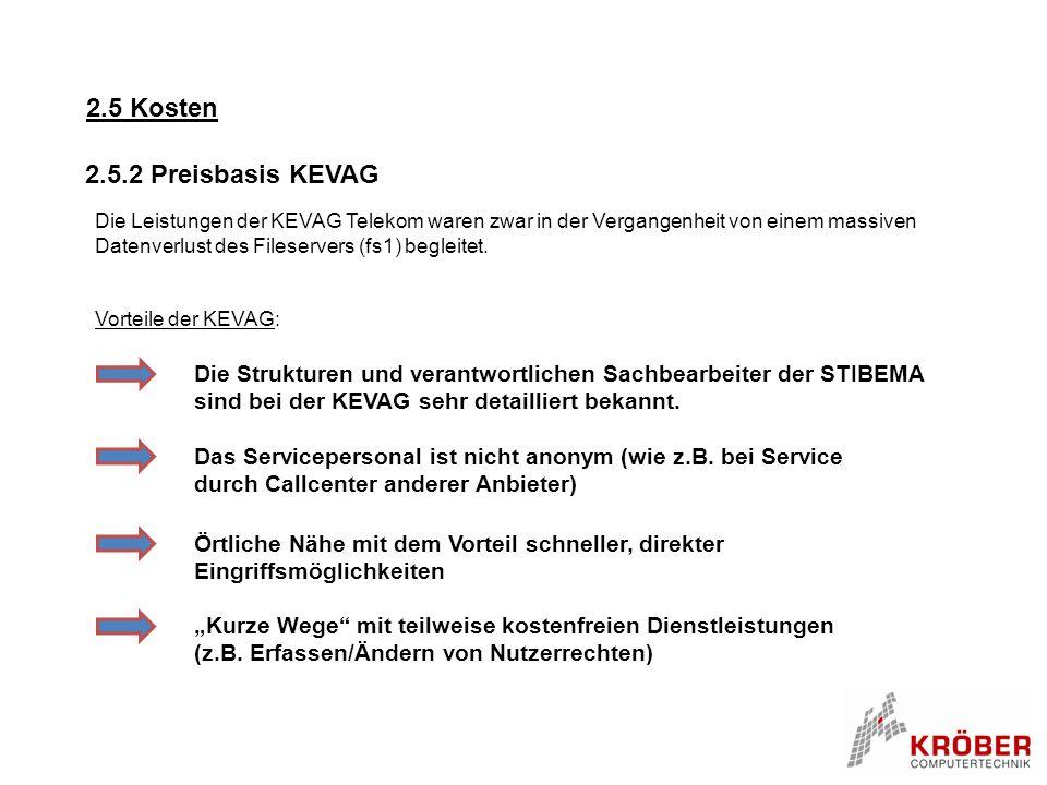 2.5 Kosten Die Leistungen der KEVAG Telekom waren zwar in der Vergangenheit von einem massiven Datenverlust des Fileservers (fs1) begleitet. Vorteile