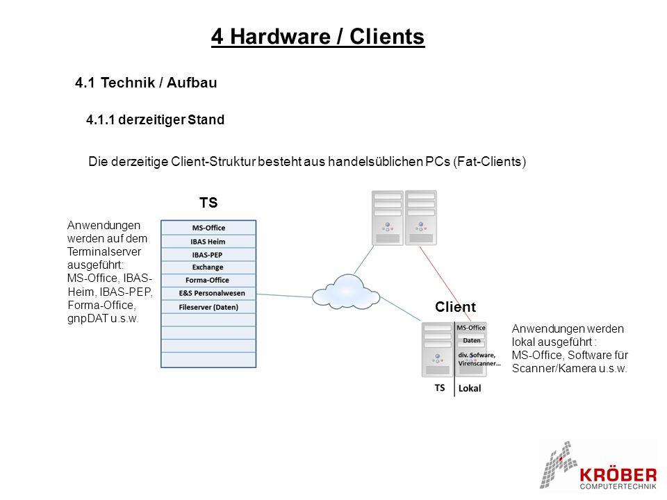 4 Hardware / Clients 4.1 Technik / Aufbau 4.1.1 derzeitiger Stand Die derzeitige Client-Struktur besteht aus handelsüblichen PCs (Fat-Clients) Anwendu