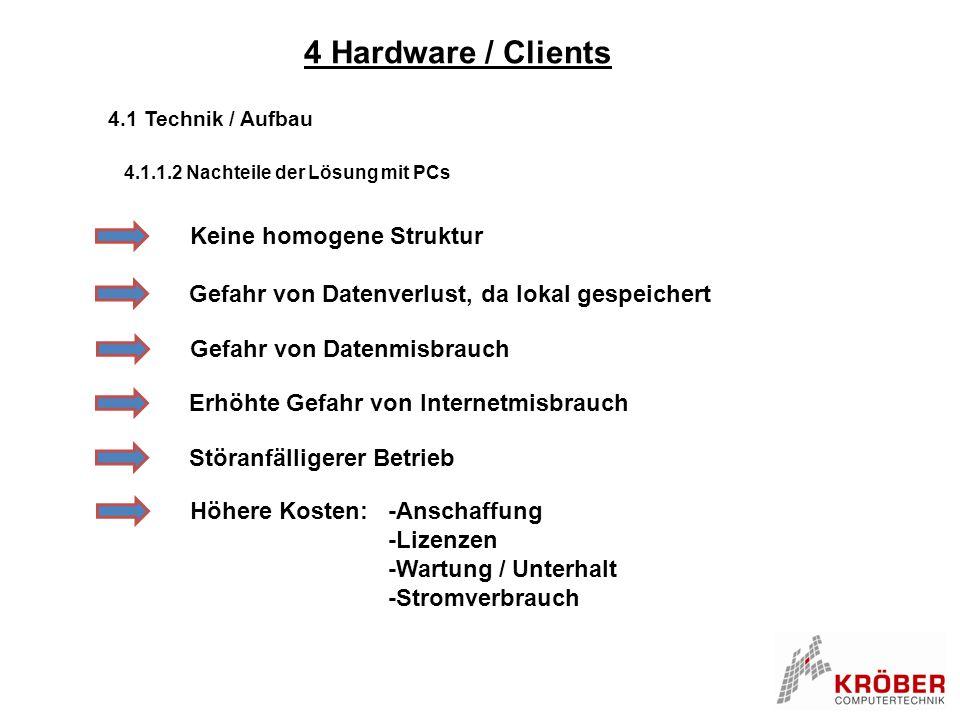4 Hardware / Clients 4.1 Technik / Aufbau 4.1.1.2 Nachteile der Lösung mit PCs Keine homogene Struktur Gefahr von Datenverlust, da lokal gespeichert E