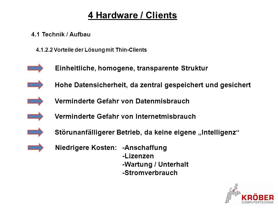 4 Hardware / Clients 4.1 Technik / Aufbau 4.1.2.2 Vorteile der Lösung mit Thin-Clients Einheitliche, homogene, transparente Struktur Hohe Datensicherh