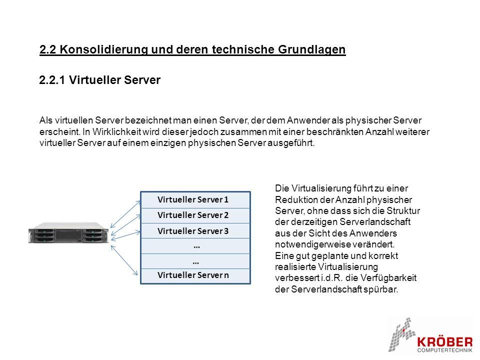 2.2.1 Virtueller Server Als virtuellen Server bezeichnet man einen Server, der dem Anwender als physischer Server erscheint. In Wirklichkeit wird dies