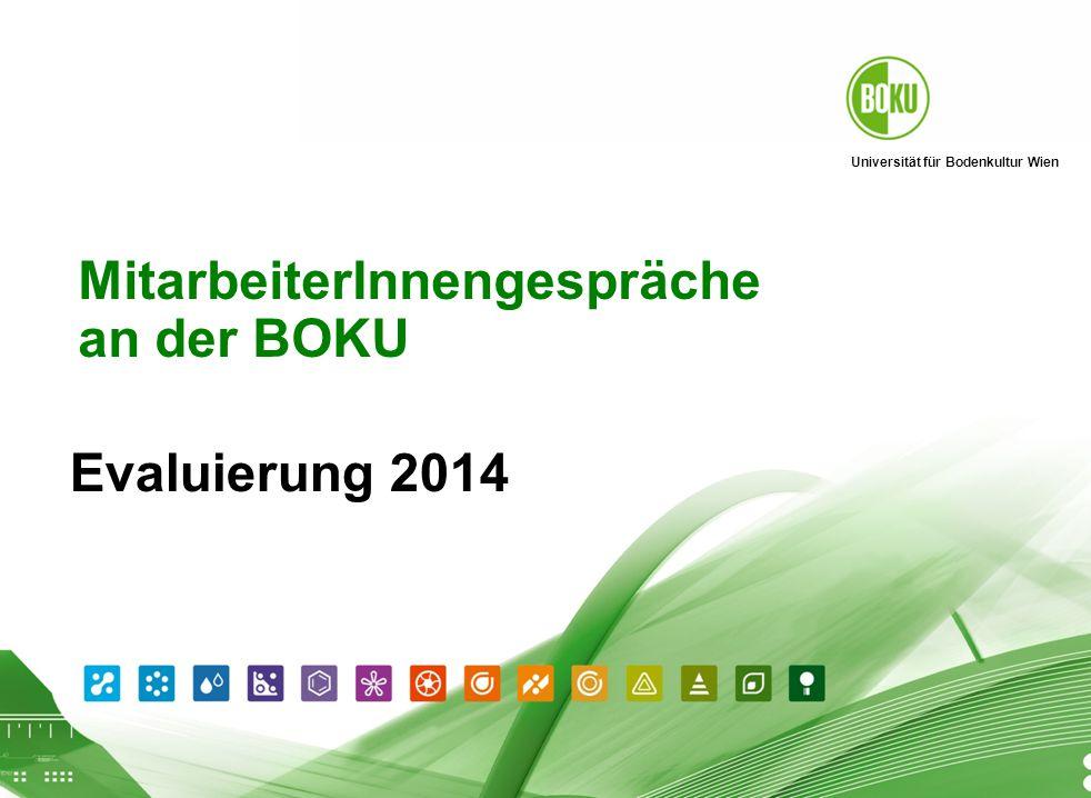 Universität für Bodenkultur Wien Personalentwicklung 2014 September 2009 1 Evaluierung 2014 MitarbeiterInnengespräche an der BOKU