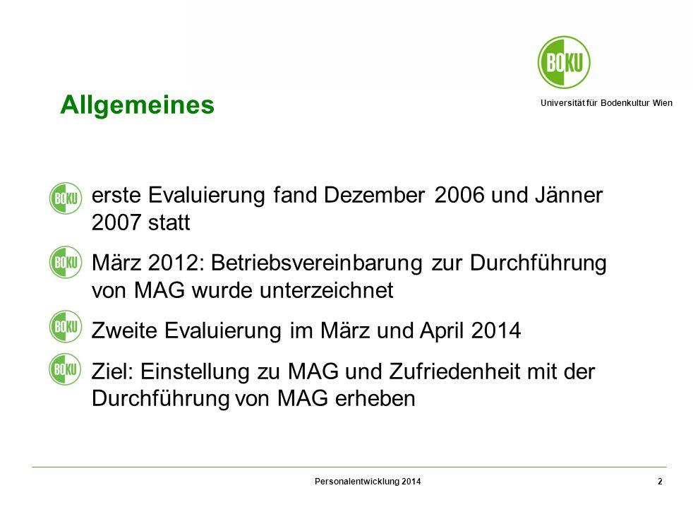 Universität für Bodenkultur Wien Personalentwicklung 2014 2 Allgemeines 1.